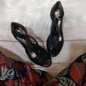 SOFFT SINCE 1927 black leather peep toe heels